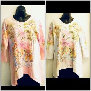 S, M, or L Cactus white or pink tunic hummingbird